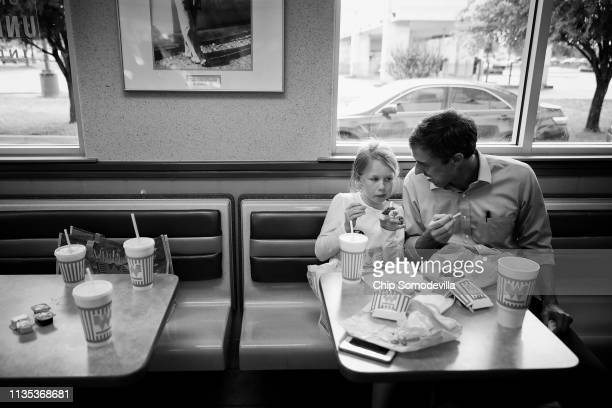S Senate candidate Rep Beto O'Rourke takes a quick break from canvassing to have lunch wit his daughter Molly an the rest of his family and campaign...