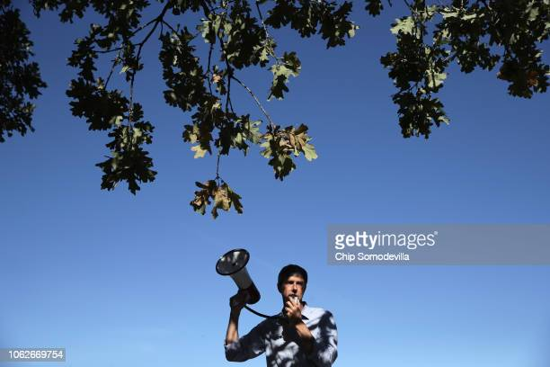 Senate candidate Rep. Beto O'Rourke talks to supporters during a campaign rally at Harvest Run Park November 2, 2018 in Carrollton, Texas. As...