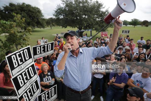 S Senate candidate Rep Beto O'Rourke talks to supporters with a megaphone as he campaigns at Gilbert Garza Park October 31 2018 in San Antonio Texas...