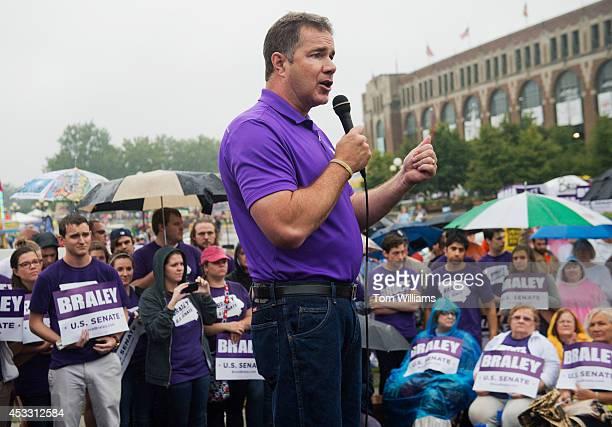 Senate candidate Rep Bruce Braley DIowa speaks at the 2014 Iowa State Fair Soapbox in Des Moines Iowa August 7 2014