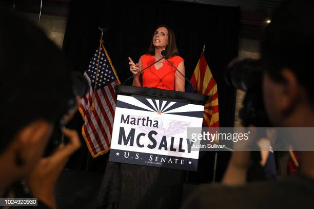 S Senate candidate US Rep Martha McSally speaks during her primary election night gathering at Culinary Drop Out at The Yard on August 28 2018 in...