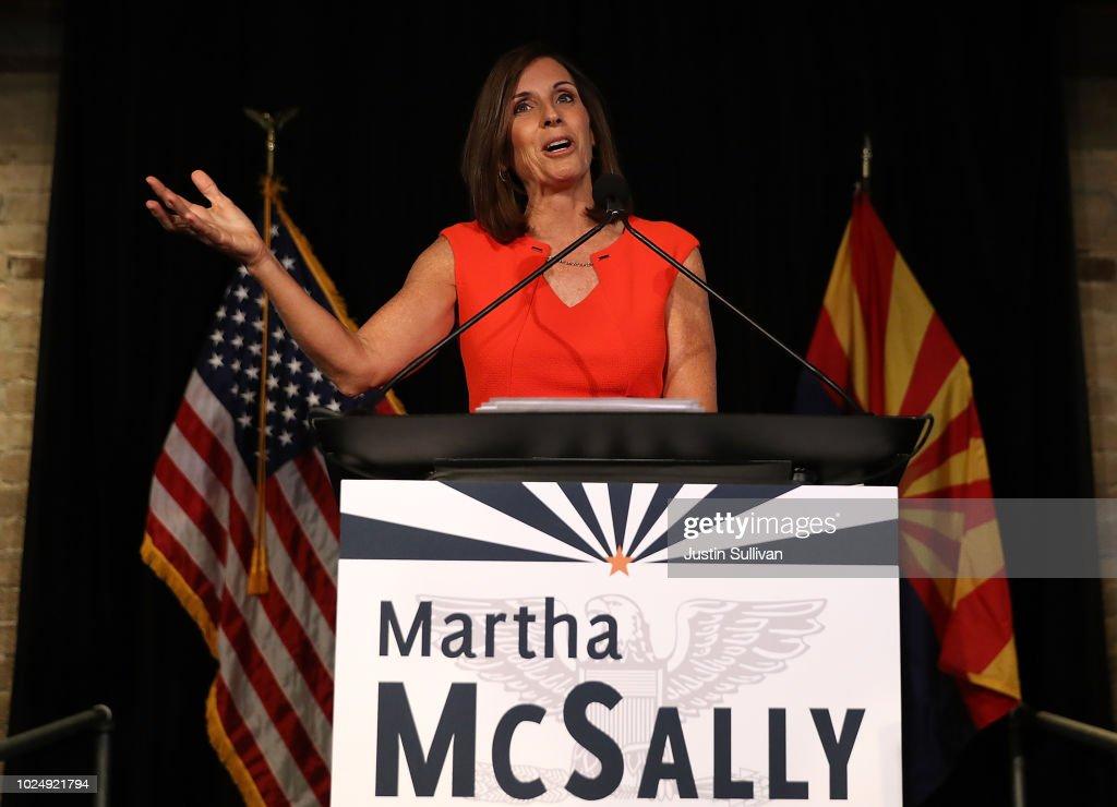 Arizona GOP Senate Candidate Martha McSally Attends Primary Night Event In Tempe : News Photo