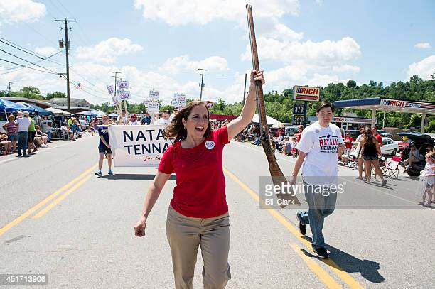 S Senate candidate West Virginia Secretary of State Natalie Tennant marches with her musket in the Ripley 4th of July Parade in Ripley W Va on July 4...