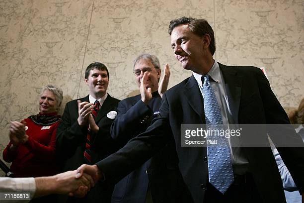 S Senate challenger Ned Lamont greets supporters June 8 2006 in New Haven Connecticut Running largely on an antiwar and liberal platform Lamont is...