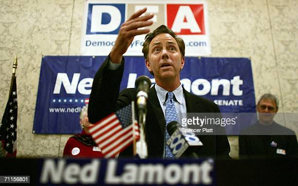 S Senate challenger Ned Lamont speaks to supporters June 8 2006 in New Haven Connecticut Running largely on an antiwar and liberal platform Lamont is...