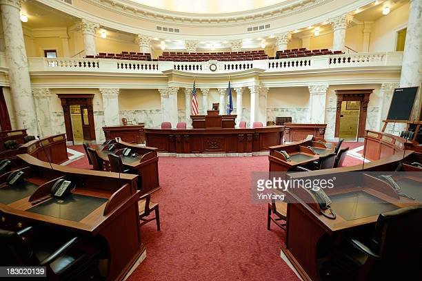 senate chamber inside state capitol government building, boise, idaho, usa - congress stock pictures, royalty-free photos & images