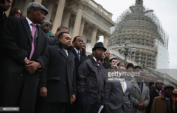 S Senate Chaplain Barry Black speaks during a black congressional staffers walkout December 11 2014 on the steps of the US Capitol in Washington DC...