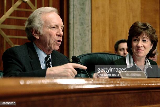S Senate Committee on Homeland Security and Governmental Affairs ranking Democrat Sen Joe Lieberman and Chairman Susan Collins make their closing...