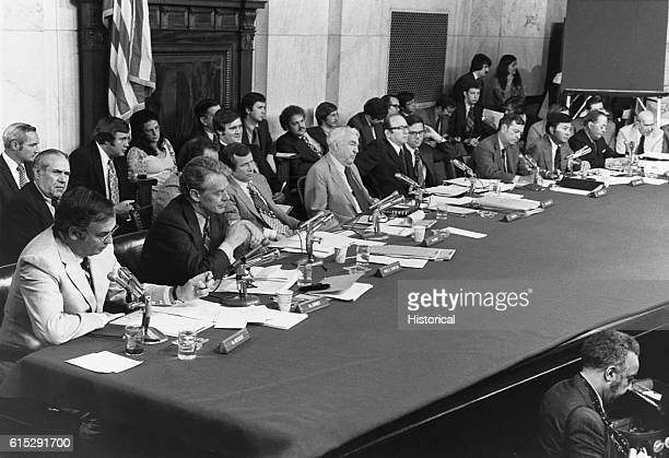 A Senate committee organized to investigate the Watergate breakin and the role of President Nixon in its occurrence and subsequent coverup sits in...