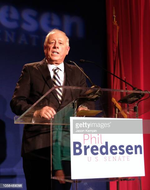 Senate Democratic Candidate of Tennessee Phil Bredesen speaks at the Hilton Downtown Nashville on November 6 2018 in Nashville Tennessee