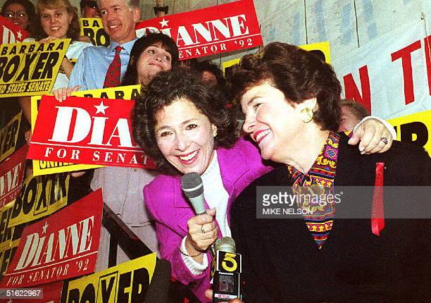 S Senate Democratic candidates Dianne Feinstein and Barbara Boxer at a getoutthevote rally 02 November a day before Election Day Feinstein and Boxer...