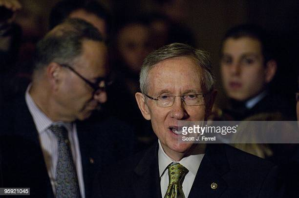 Senate Democratic Caucus Vice Chairman Charles E Schumer DNY and Senate Majority Leader Harry Reid DNev during a news conference after the Democratic...