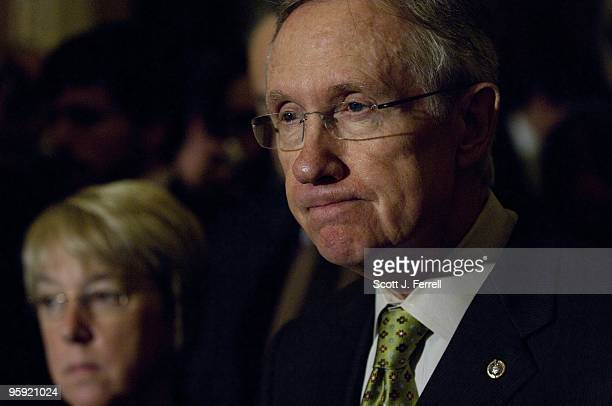 Senate Democratic Conference Secretary Patty Murray DWash and Senate Majority Leader Harry Reid DNev during a news conference after the Democratic...