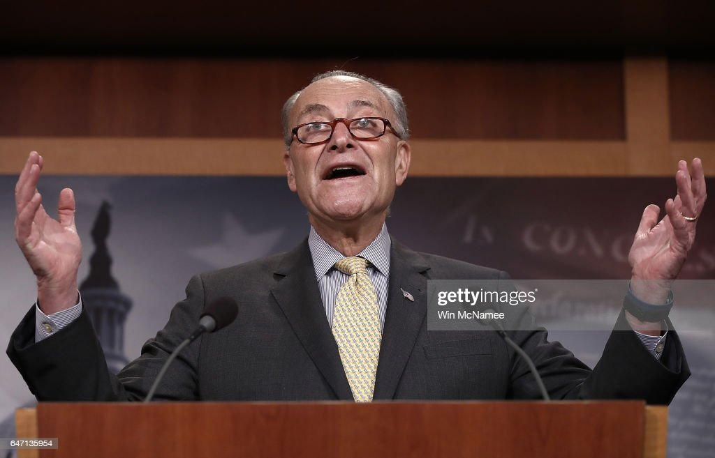 Senate Democratic Leader Charles Schumer answers questions at the U.S. Capitol during a press conference on reports of U.S. Attorney General Jeff Sessions meeting with the Russian ambassador during the 2016 presidential campaign March 2, 2017 in Washington, DC. Schumer called for the resignation of Sessions and the establishment of a special prosecutor to investigate alleged contact between the campaign of U.S. President Donald Trump and members of the Russian government.