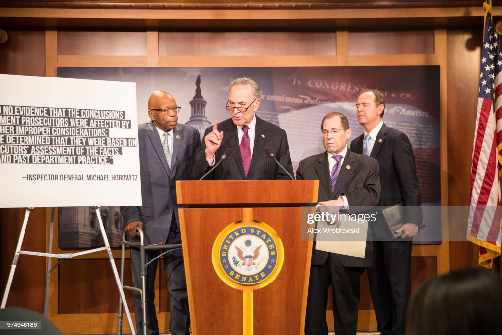 Senate Democratic Leader Chuck Schumer (D-NY), speaks alongside U.S. Representative Elijah Cummings (D-MD), U.S. Representative Jerrold Nadler (D-NY), and U.S. Representative Adam Bennett Schiff (D-CA) on Capitol Hill on June 14, 2018 in Washington, DC. The inspector general released a report Thursday about a series of failures by officials in charge of the investigation.