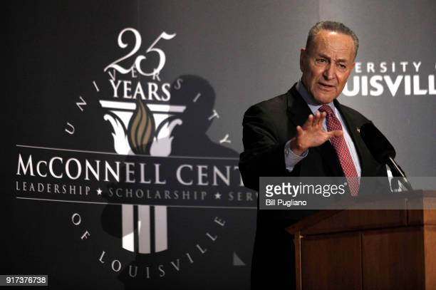 S Senate Democratic Leader Chuck Schumer speaks at the University of Louisville's McConnell Center February 12 2018 in Louisville Kentucky Schumer...