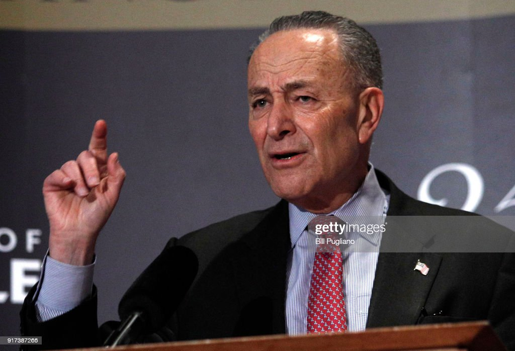 U.S. Senate Democratic Leader Chuck Schumer (D-NY), speaks at the University of Louisville's McConnell Center February 12, 2018 in Louisville, Kentucky. Schumer, who was introduced at the event by U.S. Senate Majority Leader Mitch McConnell (R-KY), was there as part of the Center's Distinguished Speaker Series.