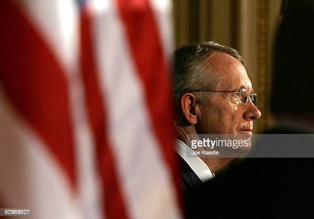 S Senate Democratic Leader Harry Reid addresses the media during a press conference with Hispanic leaders at the Capitol May 23 2005 in Washington DC...