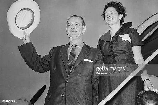 """Senate Democratic Leader Lyndon B. Johnson and his wife board a plane at Washington, August 25th, for what they called a """"rocking chair"""" vacation on..."""