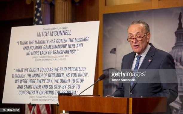 Senate Democratic Leader Sen Chuck Schumer speaks at a press confernce on urging the GOP To Slow Down Republican Tax Bill In Senate on December 13...
