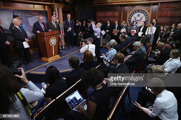 Senate Democratic leaders including Harry Reid hold a news conference about their legislative proposals in the wake of last week's terror attacks in...
