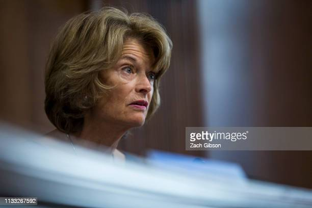 Senate Energy and Natural Resources Committee Chairman Senator Lisa Murkowski speaks during a Senate Energy and Natural Resources Committee...