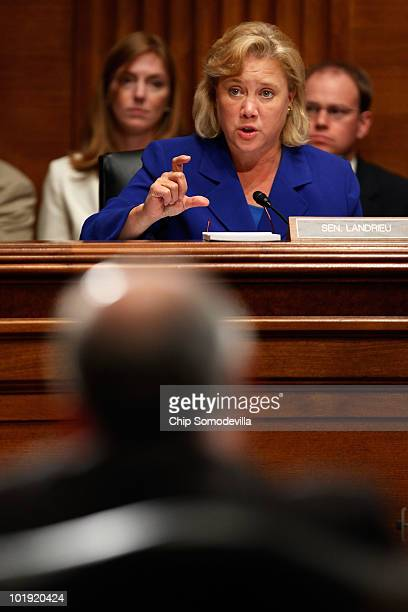 Senate Energy and Natural Resources Committee member Sen Mary Landrieu questions Interior Secretary Ken Salazar about oilservice companies that have...