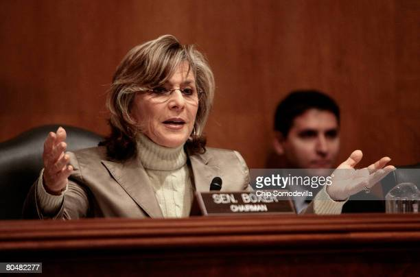 S Senate Environment and Public Works Committee Chairman Barbara Boxer questions witnesses during a hearing about the possible listing of the polar...