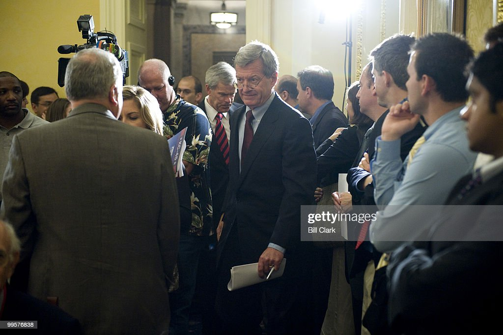 Senate Finance Chairman Max Baucus, D-Mont., and Senate Energy and Natural Resources Chairman Jeff Bingaman, D-N.M. arrive for their news conference on renewable energy sources and energy conservation on Tuesday, July 29, 2008.