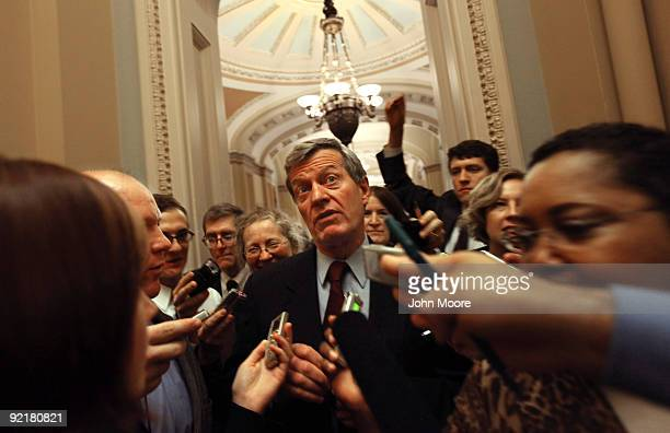 Senate Finance Chairman Max Baucus speaks to reporters about health care reform following a Democratic senatorial luncheon at the Capitol October 20...