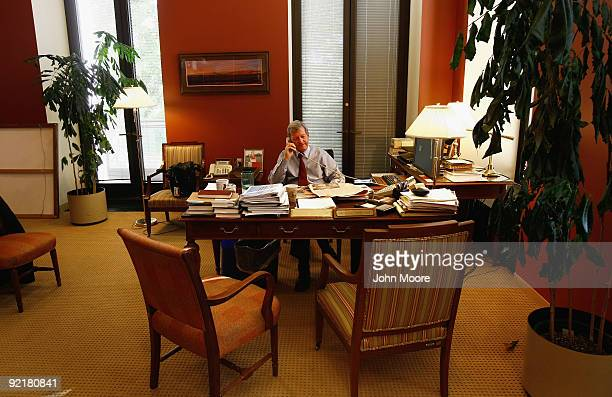 Senate Finance Chairman Max Baucus speaks with fellow legislators from his office October 20 2009 in Washington DC Democratic leaders are currently...