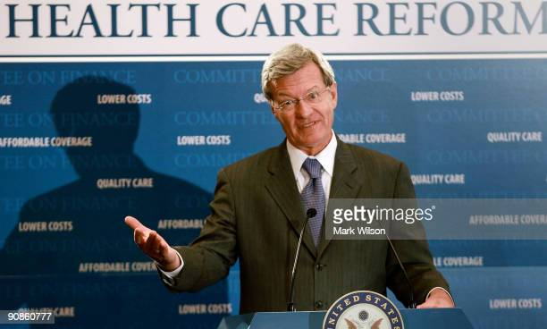 Senate Finance Committee Chairman Max Baucus speaks about his healthcare plan during a news conference on Capitol Hill September 16 2009 in...