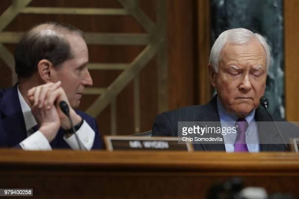Senate Finance Committee Chairman Orrin Hatch and ranking member Sen Ron Wyden hear testimony from US Secretary of Commerce Wilbur Ross in the...