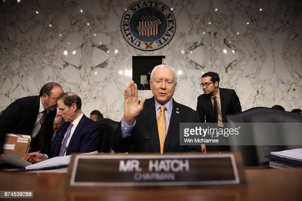 Senate Finance Committee chairman Orrin Hatch gestures before the start of a markup by the committee of the Republican tax reform proposal on...