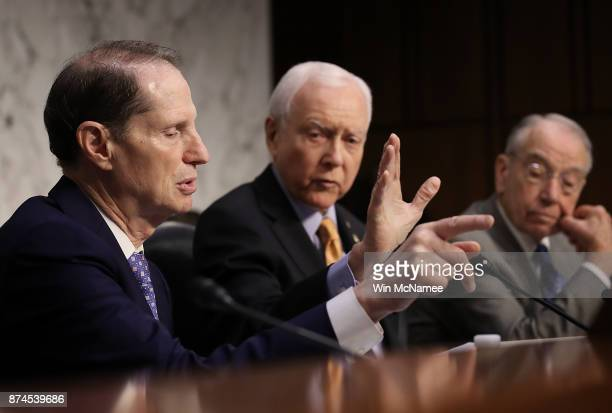 Senate Finance Committee chairman Orrin Hatch interrupts ranking member Sen Ron Wyden during a markup by the committee of the Republican tax reform...