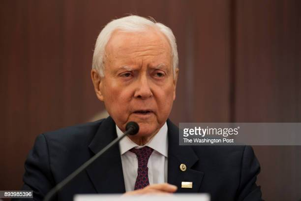 Senate Finance Committee Chairman Orrin Hatch speaks during the Senate and House conference committee meeting on the tax bill at the United States...