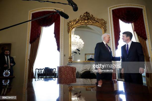 Senate Finance Committee Chairman Orrin Hatch welcomes Judge Brett Kavanaugh to the Senate President pro tempore office before a meeting at the US...