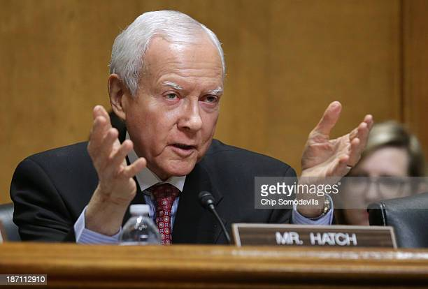 Senate Finance Committee raking member Sen Orrin Hatch makes closing remarks at the end of a committee hearing about the errorplagued launch of...