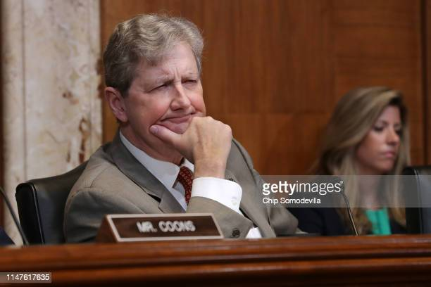 Senate Financial Services and General Government Subcommittee Chairman John Kennedy listens to Federal Communication Commission Chairman Ajit Pai and...