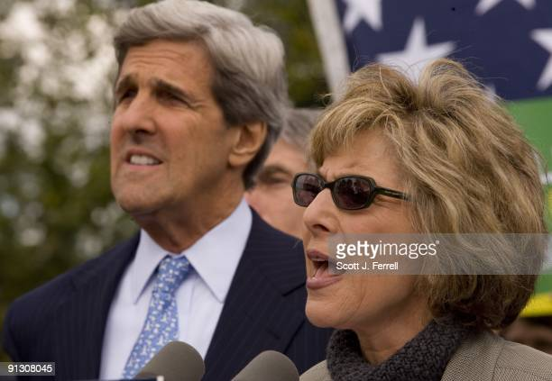 Senate Foreign Relations Chairman John Kerry DMass and Senate Environment and Public Works Chairwoman Barbara Boxer DCalif during a rally introducing...
