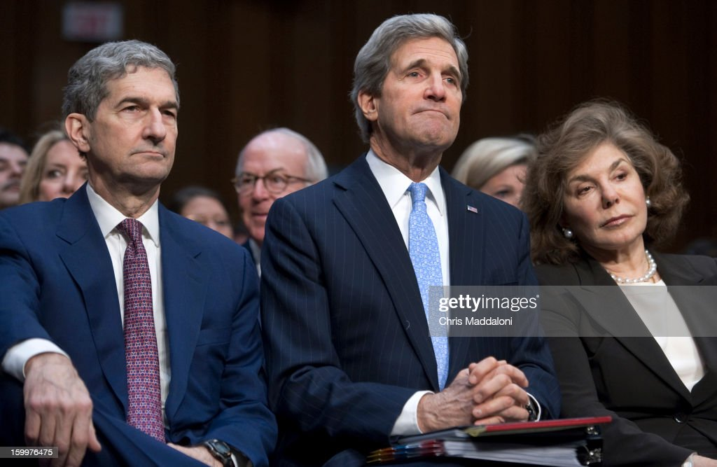 Senate Foreign Relations Chairman Sen. John Kerry, D-Mass., President Barack Obama's nominee to become secretary of state, sits with his brother Cam and and wife Teresa Heinz, at his confirmation hearing before the Senate Foreign Relations committee to replace Hillary Rodham Clinton.