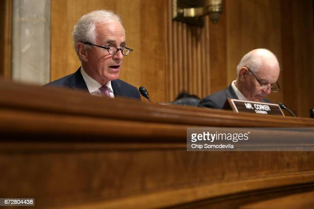 Senate Foreign Relations Committee Chairman Bob Corker and ranking member Sen Ben Cardin deliver opening remarks during a committee hearing about...