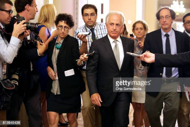 Senate Foreign Relations Committee Chairman Bob Corker leaves a meeting where a new version of a GOP healthcare bill was unveiled to Republican...