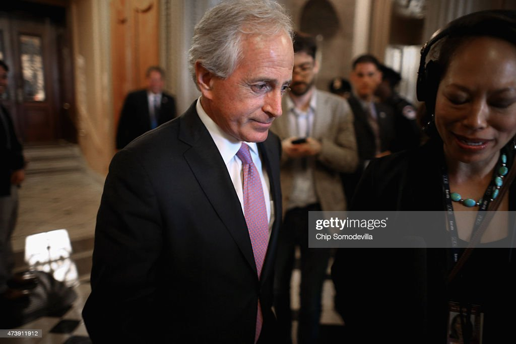 Senate Foreign Relations Committee Chairman Bob Corker (R-TN) leaves the Senate floor at the U.S. Capitol May 18, 2015 in Washington, DC. Senate Majority Leader Mitch McConnell (R-KY) said that he will postpone the Senate's Memorial Day recess until lawmakers tackle a trade bill, renewal of the Patriot Act and funding for federal highways.