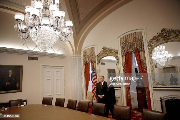 Senate Foreign Relations Committee Chairman Bob Corker meets with Mike Pompeo currently the Director of the CIA and also nominated by US President...