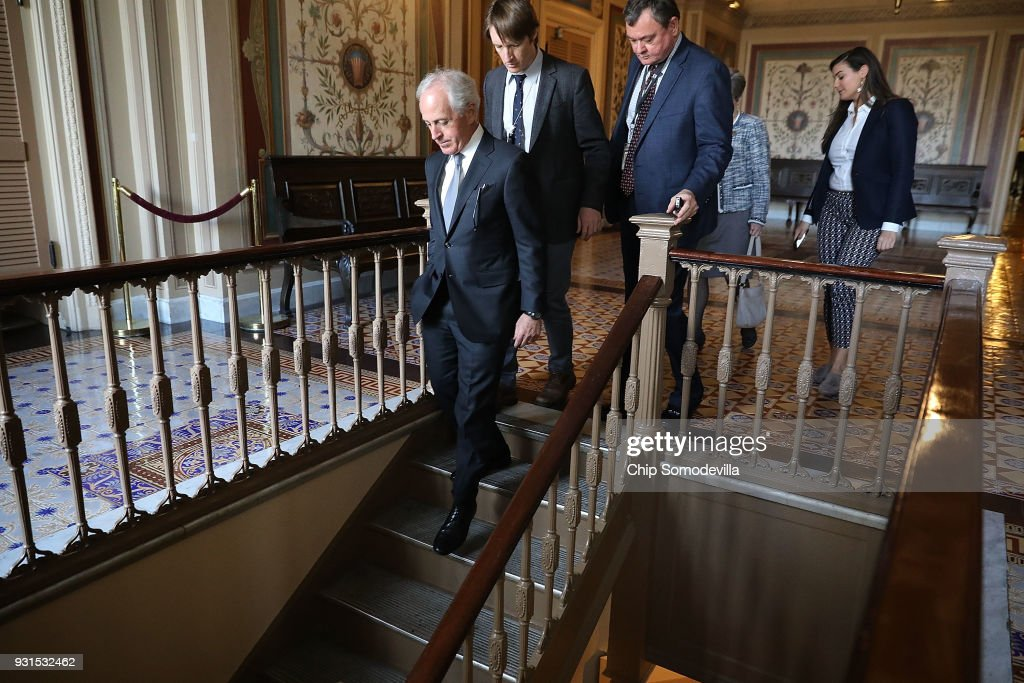 Senate Foreign Relations Committee Chairman Bob Corker (R-TN) talks to repoters after leaving the Republican policy luncheon at the U.S. Capitol March 13, 2018 in Washington, DC. Corker said he was not given a heads-up from the White House about Tuesday's firing of Secretary of State Rex Tillerson.