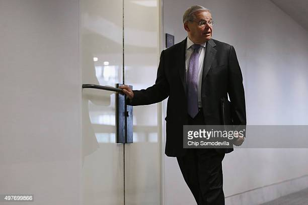 Senate Foreign Relations Committee member Sen Robert Menendez arrives for a briefing about the aftermath of last week's terrorist attacks on Paris...