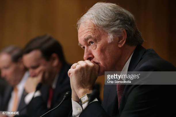 Senate Foreign Relations Committee members Sen Edward Markey participates in a committee hearing about Libya in the Dirksen Senate Office Building on...