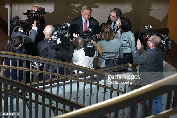 Senate Foreign Relations Committee ranking member Sen Robert Menendez talks with reporters after a news conference about the possible shutdown of the...