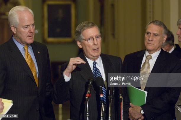 Senate GOP Conference Vice Chairman John Cornyn RTexas Senate Minority Leader Mitch McConnell RKy and Senate GOP Conference Chairman Jon Kyl RAriz...